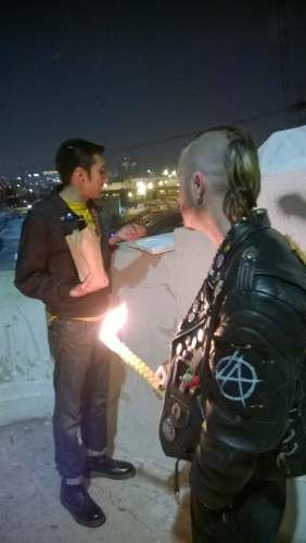 Punk Rock Havdalah, in Los Angeles. Shmuel Gonzales and Jesse Elliott. Photo Credit: Zero-Renton Prefec