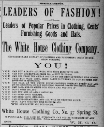 White House Clothing Company advertisement, 1888