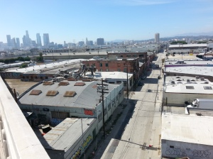 Shalom and Son's Wholesale Foods, Anderson Street, Boyle Heights Flats. The larger building on the left of was the kosher wine facility, on the left is their old offices.