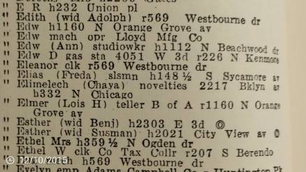 "Elimelech and Chaya Solomon, 1942 City Directory; where their business is listed as venders of ""novelties."""