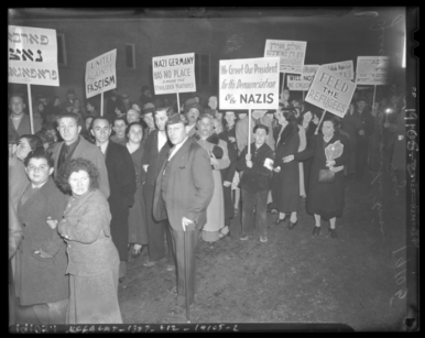 Residents of Boyle Heights protesting Nazi persecution of Jews, Nov. 1938,