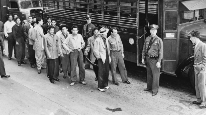 """And in the panic of what the county saw not as mob beatings but instead as race riots, the Los Angeles civic leaders called in East Coast sociologists to help them address this crisis they saw on their hands. Quickly, these sociologists came to define our youth clubs as """"gangs"""" and their members """"gangsters."""" Projecting on to our local youth their mobster problems of Chicago, Detroit, Philadelphia. And through criminal institutionalization, made this a self-fulfilling prophecy; Mexicans Americans forming their own mafia while incarcerated."""