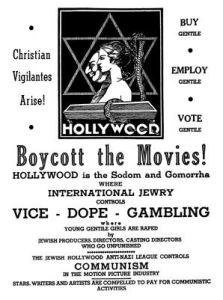 On October 1, 1938, 'Box Office,' a glossy trade weekly, reprinted a crude antisemitic leaflet circulating around theaters in the Midwest and, closer to home, along the streets of downtown Los Angeles.