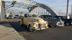 Classic Cars going over classic Sixth Street Bridge by Zero Renton Prefect