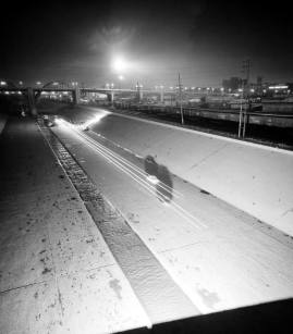 One of the few places people could race on the eastside was on the riverbed. In 1964 some people even had suggested that the paved area be designated as a racing speedway; though it never came to be.