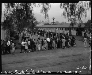 The horse stalls of the Santa Anita Racetrack were converted to barracks for the people being held there.