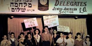 Children of the International Workers order Jewish-American Section in Los Angeles, holding Yiddish protest signs. Even the children of the neighborhood were encouraged to be involved in labor and political activity from an early age.