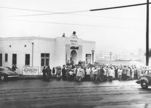 The City Terrace Jewish Cultural Center, on Grand Opening Day 1947. It was eventually closed during the Red Scare.