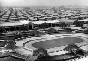 The Santa Anita Park race track is converted into an internment camp for evacuated Japanese Americans who will occupy the barracks erected in background in Arcadia, California. Photo taken on April 3, 1942