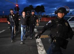 Being taken into custody by five police in riot gear.