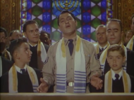 "Danny Thomas singing in ""The Jazz Singer"" (1952); which was filmed at the old Sinai Temple, at Fourth and New Hampshire. Danny Thomas did a wonderful job, even though he wasn't Jewish at all; he was a Lebanese Marionite Catholic, who many people assumed was Jewish."